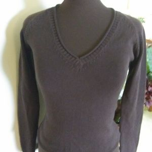 ZARA CHOCOLATE BROWN SLIM COTTON V-NECK SIZE M